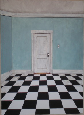 "Blue Corner with Checkerboard Floor 16"" X 22"" X 1 3/4"""