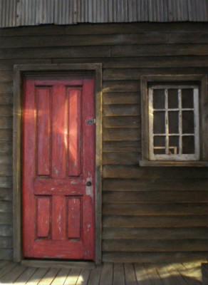 "Weathered Red Door 18 1/2"" x 24 1/2"" x 2"""