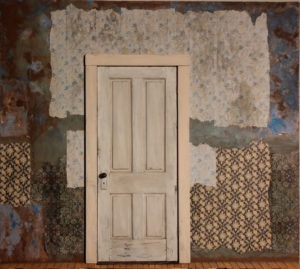 White Door with Tattered Wallpaper 24x27x2.25